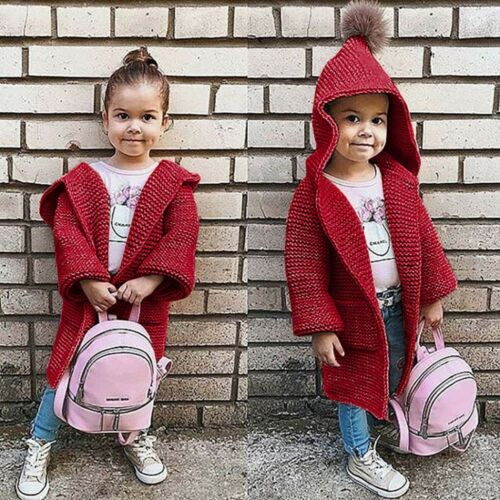 Child Kids Baby Girls Hooded Knitted Sweater Cardigan Long Coat Tops1.5-5Y