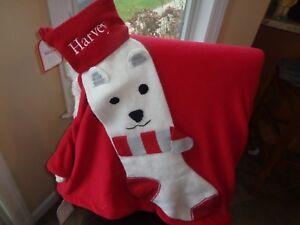 Pottery Barn Kids Fair Isle Knit Polar Bear Stocking Christmas Mono Harvey  New