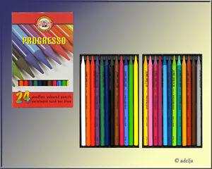 24-VOLLMINEN-Farbstifte-ohne-Holzmantel-KOH-I-NOOR-Progresso-Bunstifte
