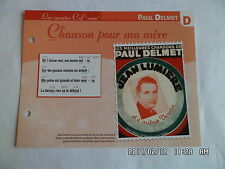 CARTE FICHE PLAISIR DE CHANTER PAUL DELMET CHANSON POUR MA MERE
