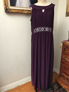Details about Nic & Dom Plus Size Embellished Long Dress Sleeveless  Eggplant Purple 2X NEW NWT