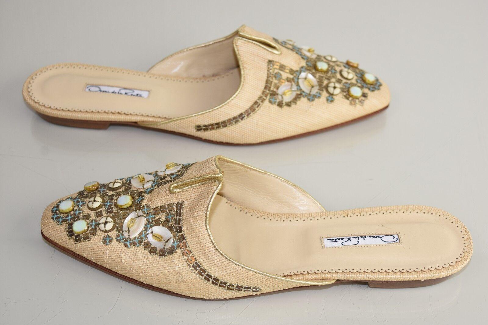NEW Oscar de la Renta Mules Flats BEADED Beige Raffia Straw Sequins shoes 40.5