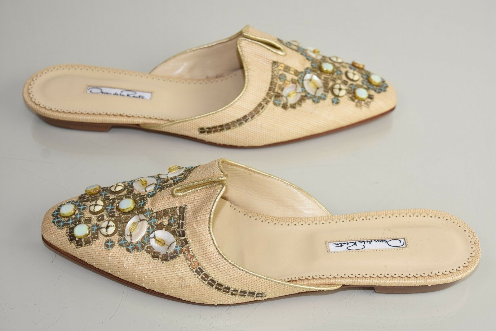 presa NEW Oscar Oscar Oscar de la Renta Mules Flats BEADED Beige Raffia Straw Sequins scarpe 40.5  il più recente
