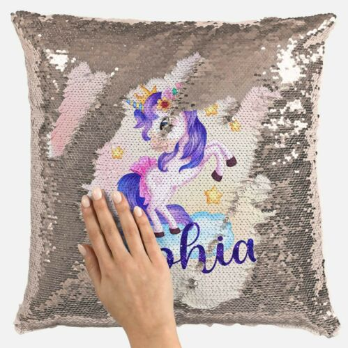 Personalised Unicorn Any Name Magic Reveal Gold Sequin Cushion Cover 13