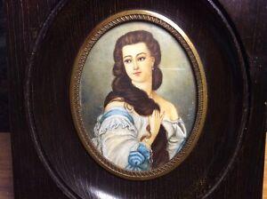 Antique-French-Miniature-Portrait-18th-Century-034-Selfie-034-on-Ivoire-Artist-Signed