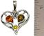 thumbnail 2 - Heart Pendant Genuine Baltic Cognac Brown Amber 925 Sterling Silver  # 51