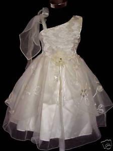 46cd234a2048 Detalles de Vestido Niña de Fiesta Blanco Amarillo 4 5 6 7 8 Años