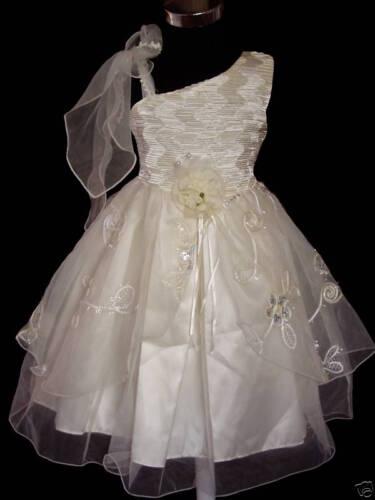 Girls Party Dress White Yellow 4 5 6 7 8 Years