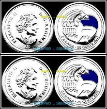 2x CANADA 2011 CANADIAN QUARTER ORCA WHALE PARK COLORIZED 25 CENT COIN LOT UNC