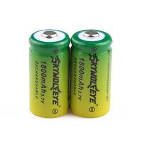 2pcs Skywolfeye 16340 Cr123a 3.7v 1800mah Rechargeable Li-ion Battery Batteries