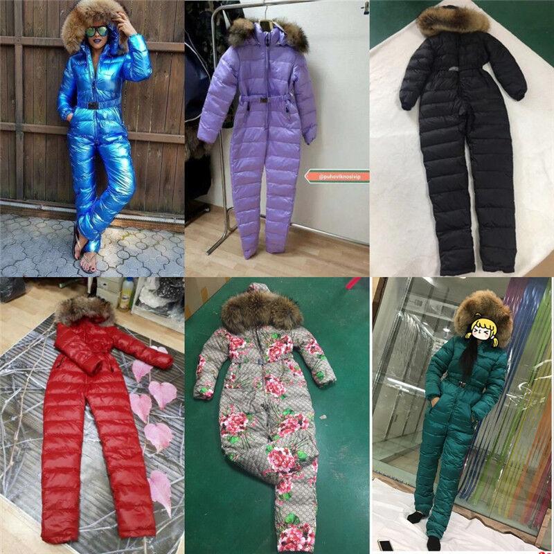 Waterproof Ski Suit Skiwear Fur Collar Snowsuit Skiing One-Piece Warm Hooded Hot