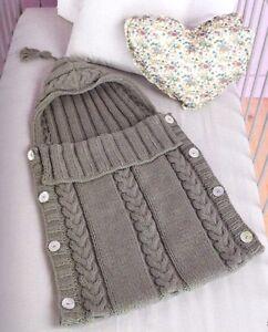 Aran Baby Sleeping Bag Tassel Hood Button Sides 0 3 Months