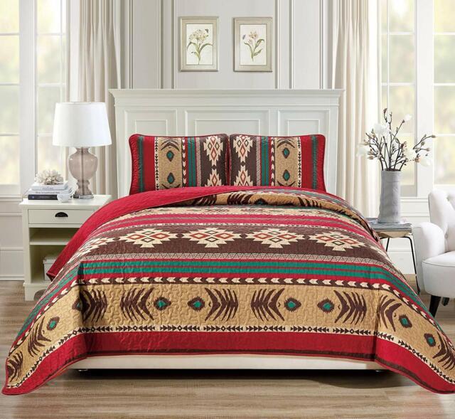 Rustic Western Southwestern Native American 4 Piece King Size Sheet Set in Beige