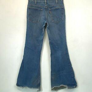 Vintage 1970s Levis Bell Bottoms Jeans Men size 32x32 Talon Zip Raw Hem P6