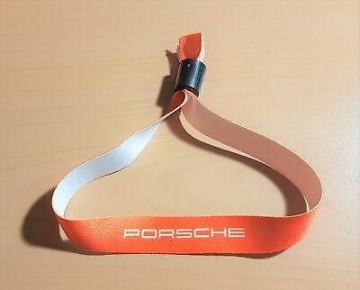 Auto & Motorrad: Teile Porsche Band Armband Eintrittsband Orange Weiße Schrift Aus Stoff Mit Verschluß