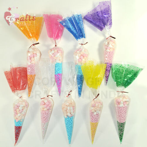 Coloured Metallic Twist Ties 10cm for Cone Cellophane Bags Party//Cake 4 inch UK