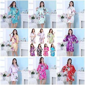 Fashion Peacock Short Women Robe Satin Nightgown Pajamas Sleepwear Robes Kimono