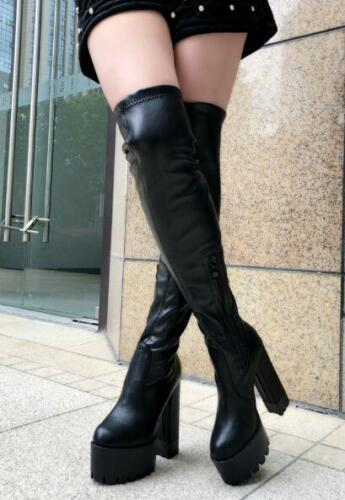 Stivali Knee Over Donna Super Block Riding Hot F42 Platform Heels High Sexy Scarpe xq0fYrqz