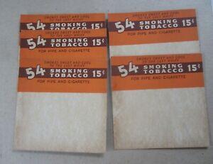 Lot Of 5 Old Vintage 1940's - 54 - Smoking Tobacco STORE DISPLAY Cardboard SIGNS