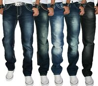 Rock Creek Herren Designer Denim Jeans Hose dicke Zier Nähte W29-W44 NEU Multi