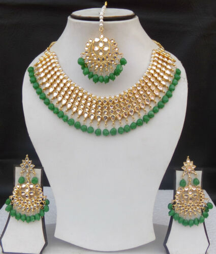 SOUTH INDIAN JEWELRY GOLD PLATED BRIDAL KUNDAN PEARL NECKLACE EARRINGS TIKKA Set