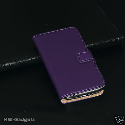 Genuine Real Leather Flip Wallet Slim Stand Case Cover for Samsung Galaxy S4