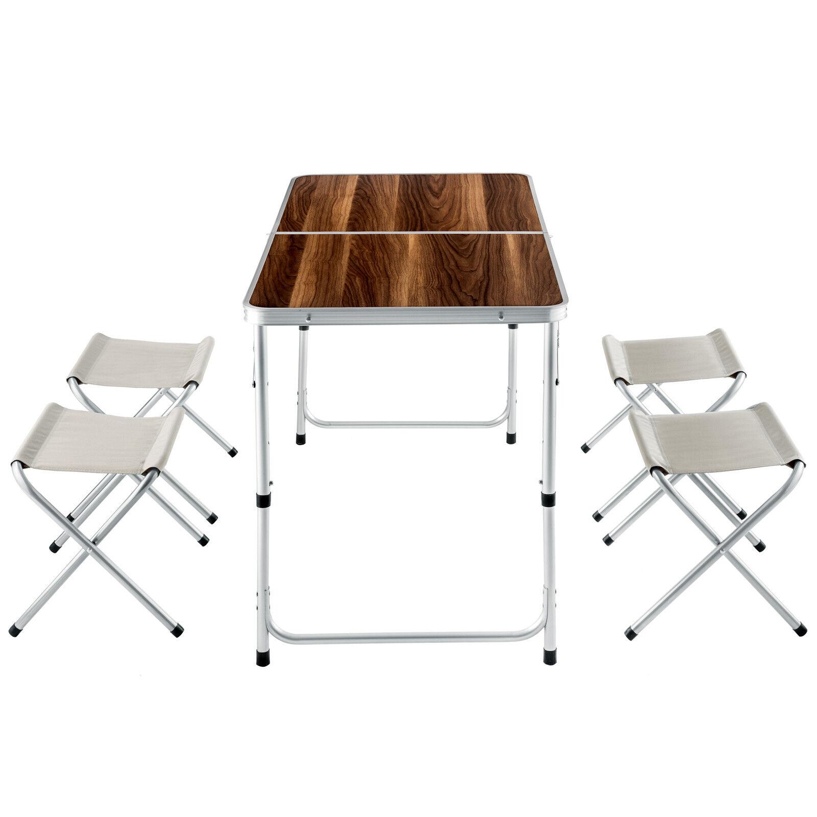 Tectake Ensemble Table Et 4 Tabourets Pliantes En Aluminium Marron