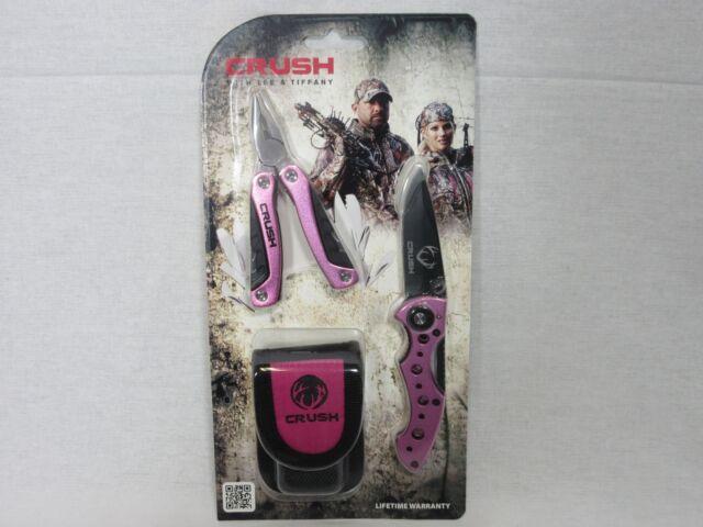 "Crush Pink Mini Multi Tool & Knife Combo 3.75"" Stainless Pink & Black"