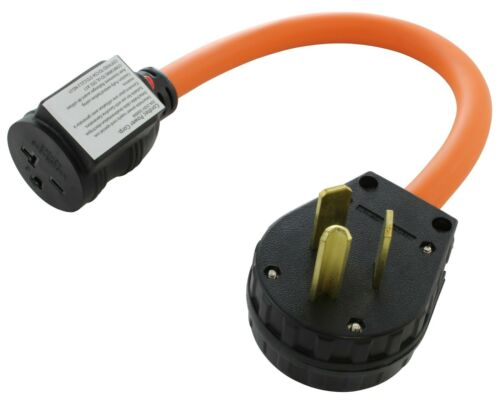 30A NEMA 10-30P to 20A NEMA 6-20R Adapter With 20 Amp Breaker by AC WORKS®