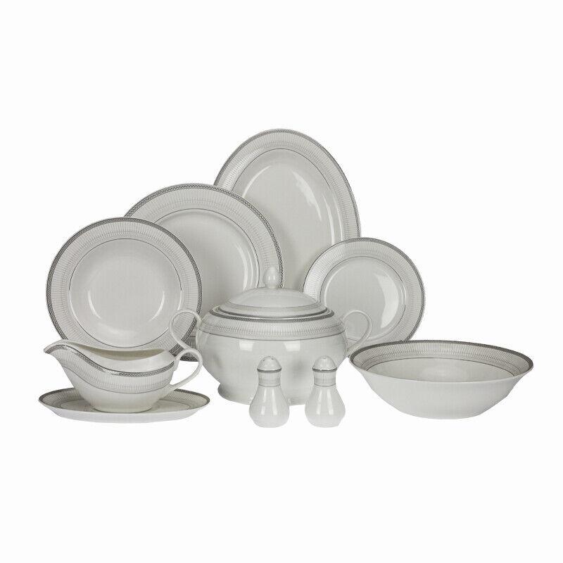 42 Pièces Porcelaine De Table Cuisine Table Service L'Assiet Céramique Argent