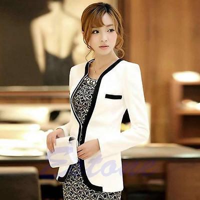 New Fashion Women White Black Colors Suit Blazer Coat Slim Jacket Outerwear