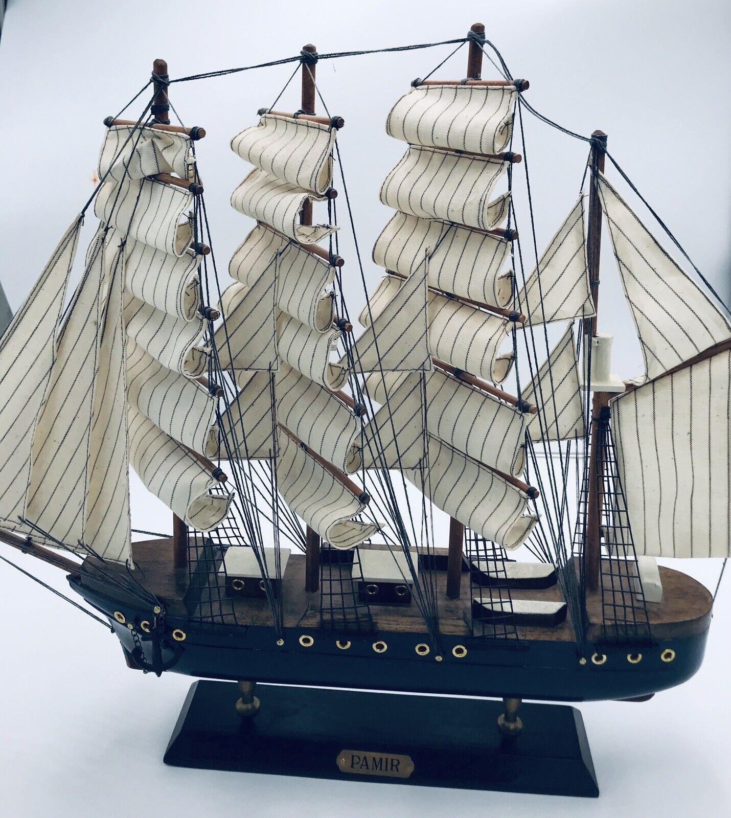 "Vintage Pamir Model Wooden Barque Ship 19"""