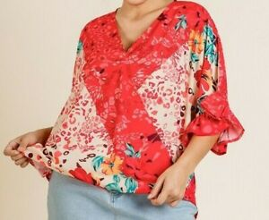 New-Umgee-Top-XL-X-Large-Coral-Floral-Animal-Ruffle-Sleeve-Boho-Peasant-Plus