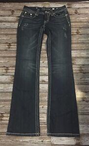 78afe1a4c5205b Miss ME Signature Boot Cut Jeans Size 27 Inseam 34 Blue Wash | eBay