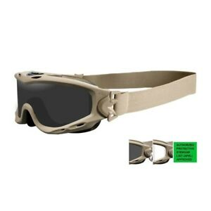 Wiley-X-SP30T-Spear-Goggles-APEL-Smoke-Grey-Clear-Lens-Tan-Frame-Fast-Free-Ship