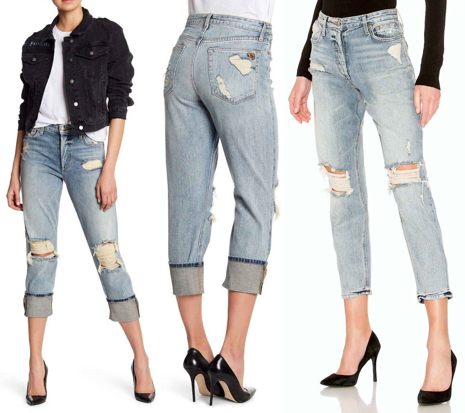 235 Joe's Jeans The Smith High Rise Straight Ankle Serafina Distressed Jeans 32