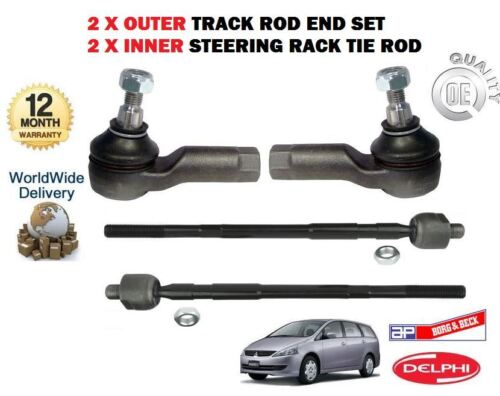 FOR MITSUBISHI GRANDIS 2003-/> NEW 2x OUTER 2x INNER TRACK RACK TIE ROD END SET