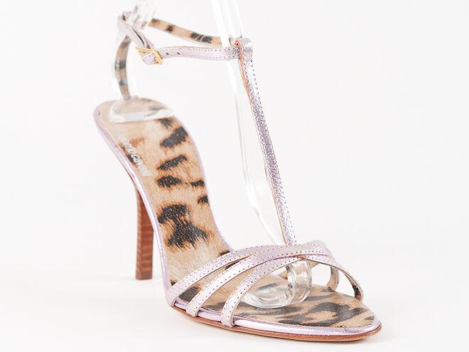 Nuevas Sandalias de piel rosadodo de Roberto Cavalli Talla 37 37 37 EE. UU. 7  excelentes precios