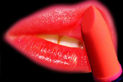 NEON LIPSTICK in RED UV, FLUORESCENT UNDER BLACK LIGHT, CLUB, STAGE, DISCO