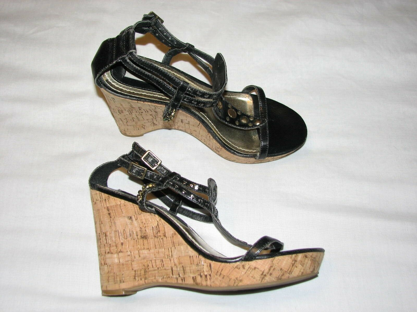 8.5 Ladies Steve Madden Black Strappy Ladies 8.5 shoes Wedge Platform Heel Jewelled 9 Gold 958e84