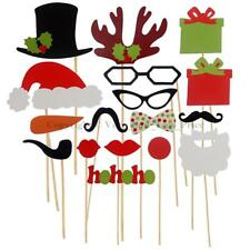 17pcs Christmas Party Xmas Selfie Fun Photo Booth Prop Set Mustache Lip on Stick