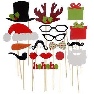 17pcs-Festa-di-Natale-Selfie-Photo-Booth-Prop-Set-Baffi-bordo-a-incastro-su-un-bastone-partito