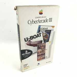 Cyber-Arcade-3-Apple-Macintosh-Software-CD-ROM-U-Boat-Theme-Park-Riddle-Maze