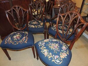 Image Is Loading Set Six Shield Back Dining Chairs Needlepoint Two