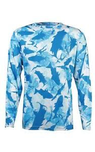 Mojo flats camo blue performance fishing shirt upf 50 for Camo fishing shirts