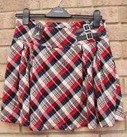 Primark Red Blue White Checked Tartan Belted Side Knit Feel Skater Skirt 10 S