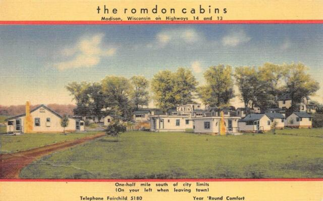 THE ROMDON CABINS Madison, Wisconsin Roadside Vintage Linen Postcard ca 1940s