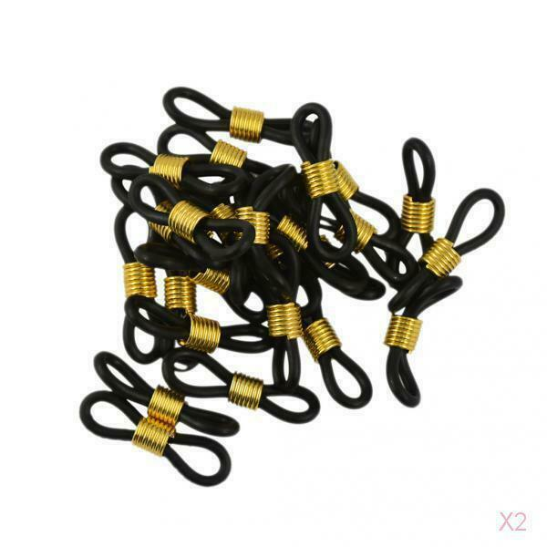 50pcs Eye Glasses Spectacle Chain Strap Holders Rubber Loop Ends Black & Gold