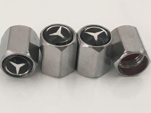 4 X Plata Cromo Neumático Válvula Polvo MB Para Tapas De Rueda De Aleación Mercedes Benz a C E