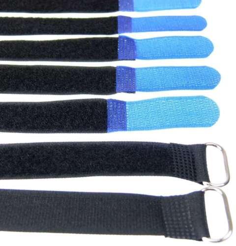 50 x Klettband Kabelbinder 20 cm x 20 mm blau Klettbänder Kabelklett Metallöse